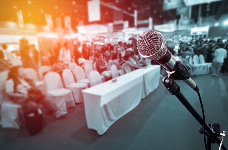 microphone with blurred event background