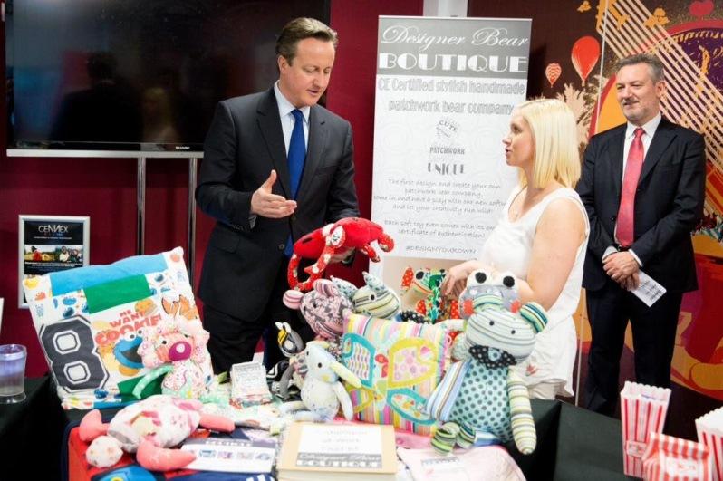 Lindsey Ahmet with David Cameron at virgin media