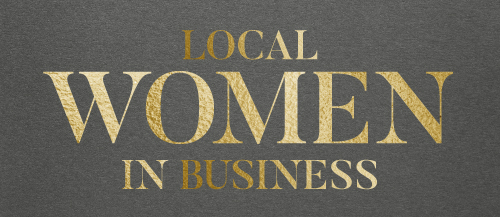 Local women in business gold logo on grey background