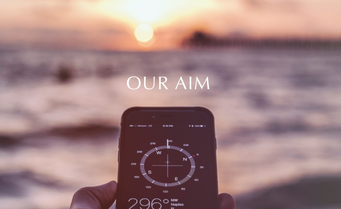 Iphone compass over a water horizon