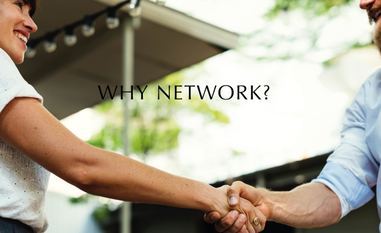 Why network, man and woman shaking hands