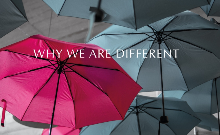 Why we are different grey umbrellas with one red one