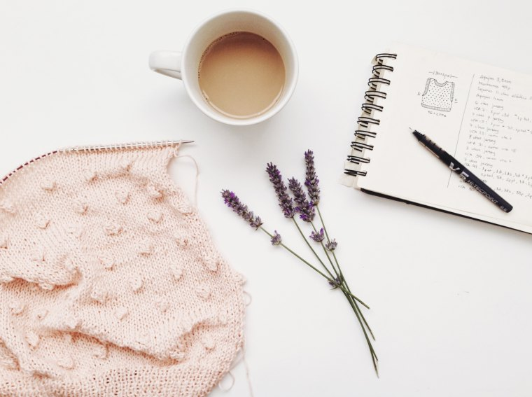wool lavender brew and notepad
