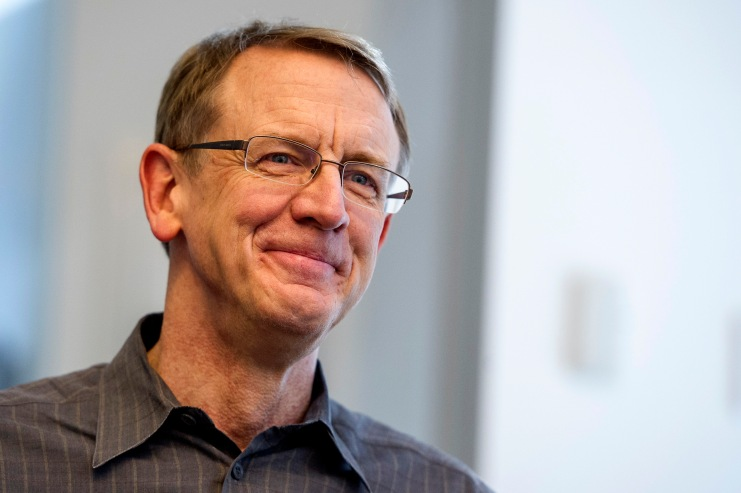 John Doerr, a senior partner with Kleiner Perkins Caufield & Byers, smiles during an interview in San Francisco, California, U.S., on Friday, May 3, 2013. Google Inc. has called on venture capital heavyweight Kleiner Perkins Caufield & Byers to spur creation of software for Google Glass, its wearable mobile-computing devices that resemble spectacles. Photographer: David Paul Morris/Bloomberg via Getty Images